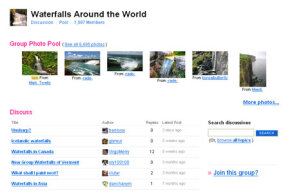 Many sites have groups that you can join to share your photos and comment on others. This group is for photos of waterfalls.