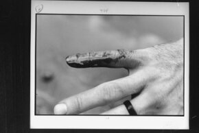 A man displays his bloodied finger after dipping his hand in the piranha-infested waters of the Parapeti River.
