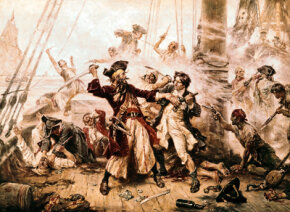 """""""The Capture of the Pirate, Blackbeard,"""" painted in 1718 by Jean Leon Gerome Ferris"""