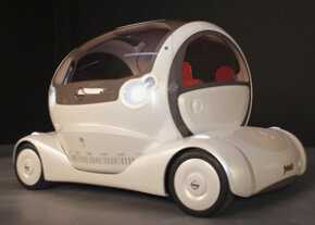 The original Nissan Pivo at its debut in Tokyo. The eco-friendly concept car featured a rotating cockpit, electronic controls and ultra-modern design. See more concept car pictures.