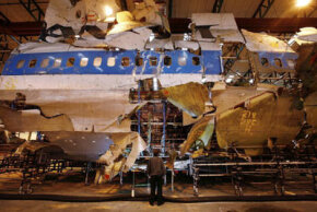 The reconstructed remains of Pan Am flight 103 lie in a warehouse on January 15, 2008 in Farnborough, England.