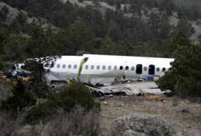 View of the wreckage of the AtlasJet Airline MD-83 plane that crashed on the hills near the village of Cukuroren in the southwestern province of Isparta, Turkey.