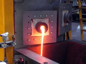 Molten slag draining from a plasma furnace
