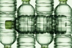 Man-made polymers include plastics like the one composing these water bottles.