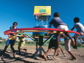 A PlayPump can produce 370 gallons (1,400 liters) of water if it's spun 16 times per minute.