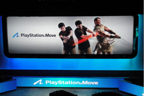 A screen announcing the Sony PlayStation Move at the E3 (Electronic Entertainment Expo), held earlier this year in Los Angeles. See more video game system pictures.