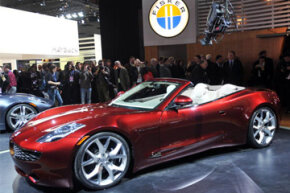 Fisker Automotive shows off the Karma S plug-in hybrid during the Detroit International Auto Show in Detroit, Mich.