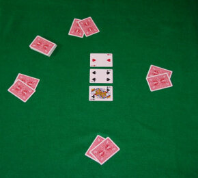 A hand of Texas Hold'em at the flop