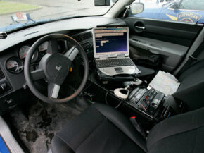 The interior of a Michigan State Police Dodge Charger