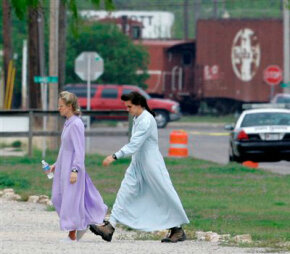 Two members of the polygamist Fundamentalist Church of Jesus Christ of Latter Day Saints in San Angelo, Texas, Wednesday, April 9, 2008.