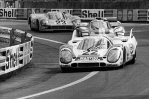 Helmut Marko and Gijs van Lennep pull into the lead in their Porsche 917, at Tertre Rouge during the 24 hour race at Le Mans on June 13, 1971.
