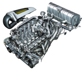 "The twin banks of cylinders are arranged in a 68-degree ""V"" topped with four-valve heads equipped with sodium-cooled exhaust valves."