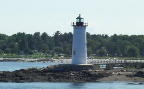The green, flashing light of the Portsmouth Harbor lighthouse still helps mariners find their way near the entrance of the Piscataqua River. See more pictures of lighthouses.