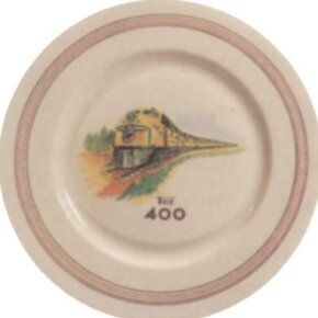 Dining car china was another medium through which to advertise.
