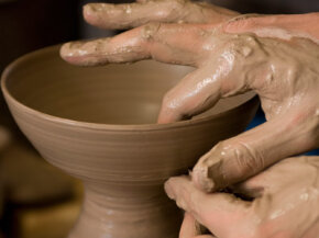 Working with pottery clay is a hands-on experience.
