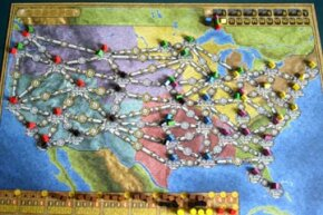 "The colorful map that comprises the ""Power Grid"" game board depicts the U.S. and its major cities. The other side of the board represents Germany."