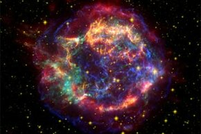Cassiopeia A is among the best-studied supernova remnants. This image blends data from NASA's Spitzer (red), Hubble (yellow), and Chandra (green and blue) observatories.