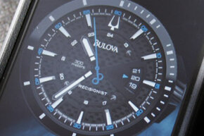 Maybe a cell phone can't replicate the aesthetics of a wristwatch, but in case you'd like to try, Bulova released a free iPhone and iPad clock/alarm app in December 2011 that features six watch face designs, including two Precisionists.