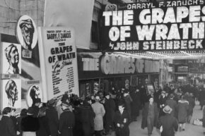 "Moviegoers line up to see ""The Grapes of Wrath"" in Times Square, circa 1940. The movie made about $1.6 million, which was twice its cost -- a box office success by any means."