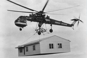 Prefab homes are usually constructed on site, but some, like this home from 1970, are entirely prebuilt and moved from the factory to their potentially permanent residence by truck (or, in this case, Sikorsky Skycrane).