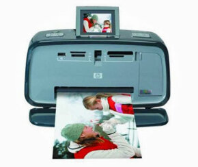 This HP A618 Photosmart Compact Photo Printer uses Bluetooth technology to link with other devices, including digital cameras.