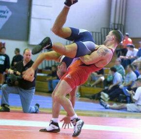 A Greco-Roman wresting match