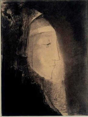 Redon's Profil de Lumiere in charcoal is housed in Musée du Louvre, Paris. See more pictures of  Impressionist paintings.