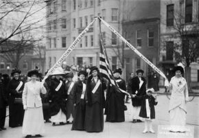 Members of the Women's Christian Temperance Union march on Washington, D.C., in 1909 to present a petition supporting Prohibition.