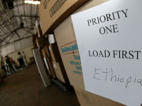 A peek inside Project C.U.R.E.'s distribution center, where volunteers are working to ship a heart lab to Ethiopia.