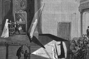 "This illustration, published in ""The World of Wonders"" circa 1865, shows how the Pepper's Ghost illusion was employed in a theatrical performance using a projection reflected off of a large sheet of glass."