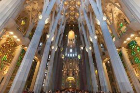 An interior look at the Sagrada Familia cathedral in Barcelona; the site is a popular tourist destination.
