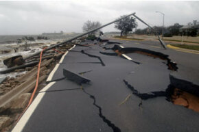 A coastal road along Escambia Bay is completely destroyed after a 20-foot storm surge from Hurricane Ivan hit Pensacola, Fla. in September, 2004. Want to learn more? Check out these storm pictures.