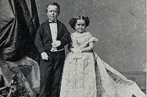 George Nutt, seen here with Minnie Warren, took Charles Stratton's place touring with Barnum.