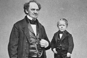 "Barnum renamed Charles Stratton ""Gen. Tom Thumb"" and took him on the road."
