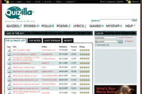 Popular Web Sites Image Gallery The Quizilla home page. See more pictures of popular web sites.