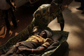 A woman is brought to a health clinic with an advanced case of rabies in Kabo in the northern Central African Republic.