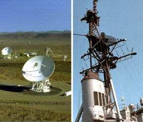 Left: Antennas at Goldstone Deep Space Communications Complex (part of NASA's Deep Space Network) help provide radio communications for NASA's interplanetary spacecraft. Right: Surface search radar and air search radar are mounted on the foremast of a guided missile destroyer.