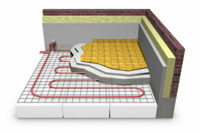 A cross section of an electric radiant floor heating system