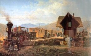 """This early scene on the Camden & Amboy Railroad shows a drawbridge, an """"American"""" type 4-4-0, and a passenger car typical of the 1840s. Except for the locomotive and parts of the car and bridge, everything is made of wood."""