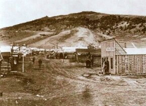 """Bear River City, Wyoming, at the railhead of the Union Pacific, in 1868. Like many other """"Hell on Wheels"""" towns, it provided railroad workers with both civilization and vice."""