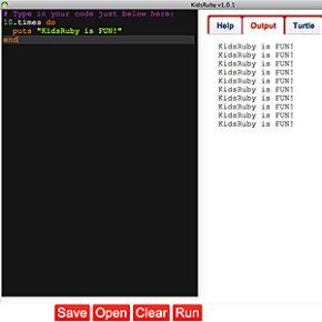 A split screen of the sort that kids encounter when they're programming on KidsRuby