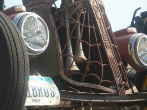 This rat rod has parts from a little bit of everything, including the grill from an old Oliver tractor.