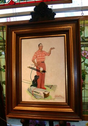 """Norman Rockwell's """"The New Sprinkler"""", used on the 1960 cover of Melnor Industries' catalogue."""