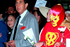 Superbarrio has been fighting the fight for years. This photo of the caped crusader with politician Cuauhtemoc Cardenas was taken in 1995.