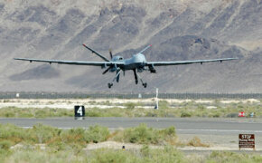 An MQ-9 Reaper takes off on a training mission at Creech Air Force Base.