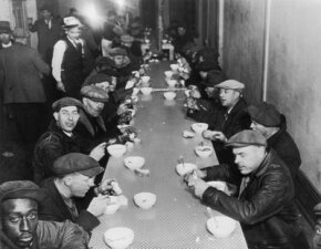 With unemployment hitting 25 percent in 1933, soup kitchens, like this one run by Al Capone, were popular during the Great Depression.