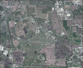 An aerial view of the Fermi National Accelerator Laboratory