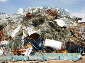 Garbage overflows at a landfill