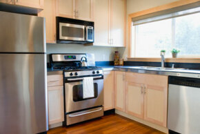 Stainless steel appliances are all the rage, and you might be able to find them used within your budget.