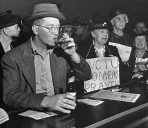 Members of the Women Christian Temperance Union attempt to recruit converts at a bar.
